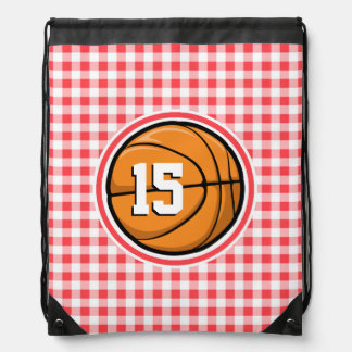 Basketball; Red and White Gingham Backpacks