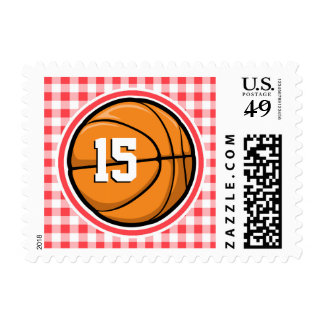 Basketball; Red and White Gingham Stamps