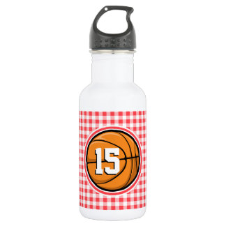 Basketball; Red and White Gingham Water Bottle