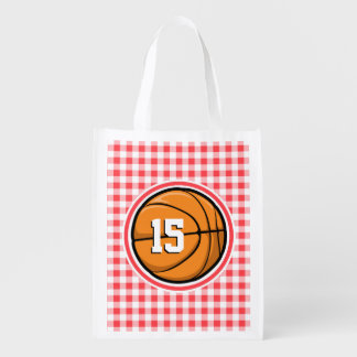 Basketball; Red and White Gingham Market Totes
