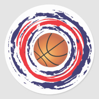 Basketball Red Blue And White Classic Round Sticker