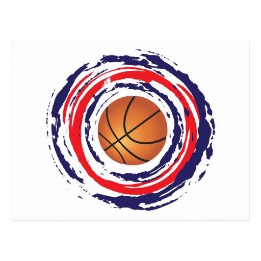 Basketball Red Blue And White Post Card