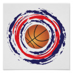 Basketball Red Blue And White Poster