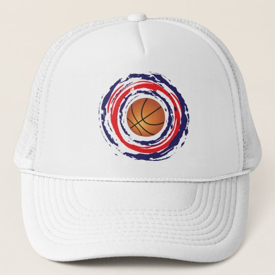 Basketball Red Blue And White Trucker Hat