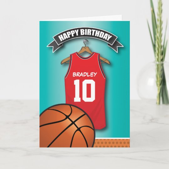 62c75b3ba Basketball Red Jersey Sports Custom Birthday Card
