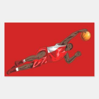 BASKETBALL RED RECTANGULAR STICKER