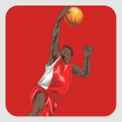 BASKETBALL RED SQUARE STICKER