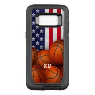 basketball red white blue American flag monogram OtterBox Defender Samsung Galaxy S8 Case