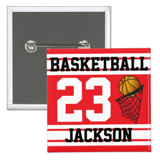 Basketball Red & White Stripes | DIY Text 2 Inch Square Button