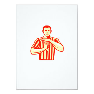 Basketball Referee Technical Foul Retro 4.5x6.25 Paper Invitation Card