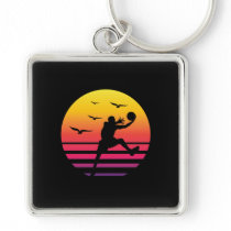 Basketball retro sunset, #Basketball Keychain