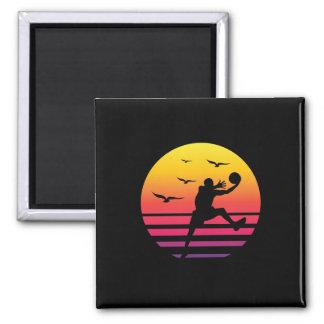 Basketball retro sunset, #Basketball Magnet