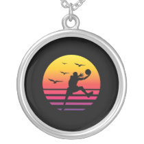Basketball retro sunset, #Basketball Silver Plated Necklace