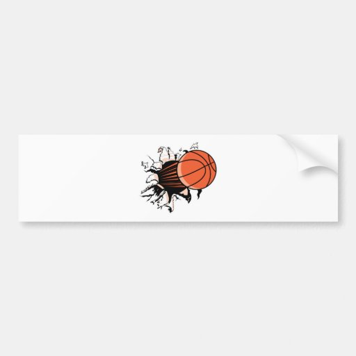 basketball ripping through bumper stickers