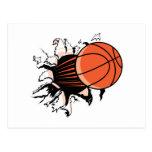basketball ripping through post card