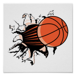 basketball ripping through poster