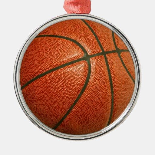 Basketball Round Metal Christmas Ornament