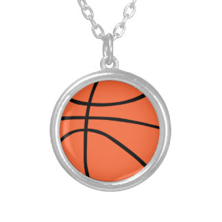 Basketball Round Pendant Necklace