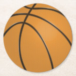 "Basketball Round Plastic Coaster<br><div class=""desc"">Basketball Round Plastic Coaster. This orange and black stylized ultra cool basketball with tread pattern and black lines is perfect for any sports fan.</div>"