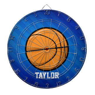 Basketball; Royal Blue Stripes Dart Board