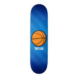 Basketball; Royal Blue Stripes Skateboard Deck