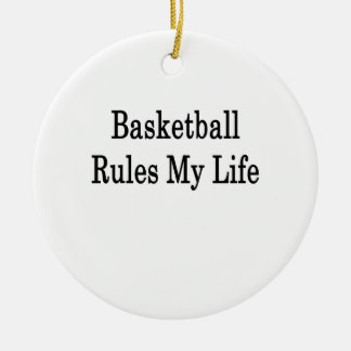 Basketball Rules My Life Double-Sided Ceramic Round Christmas Ornament