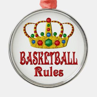 BASKETBALL RULES ROUND METAL CHRISTMAS ORNAMENT