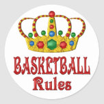 BASKETBALL RULES ROUND STICKERS