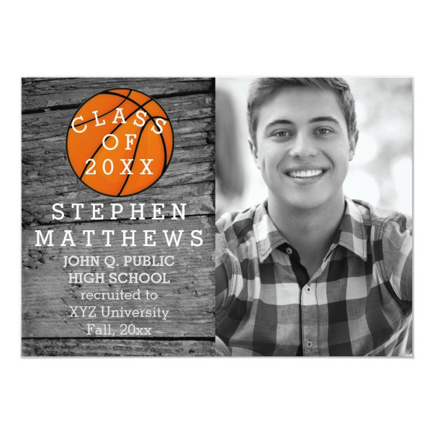 Basketball Rustic Photo Graduation Announcement (back side)