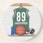 BasketBall Sandstone Drinks coasters (green)