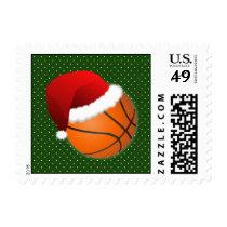 basketball santa hat winter xmas sports stamps