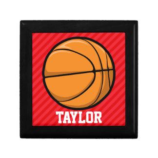 Basketball; Scarlet Red Stripes Keepsake Box