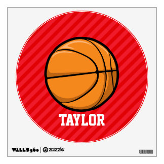 Basketball; Scarlet Red Stripes Wall Skins