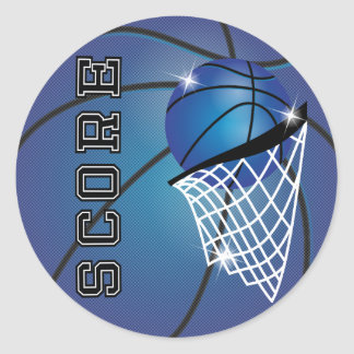 Basketball Score in Blue Round Stickers