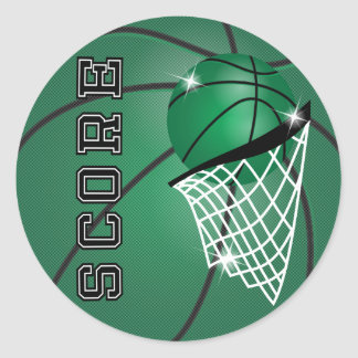 Basketball Score in Green Classic Round Sticker