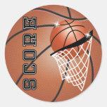 Basketball Score in Orange Brown Classic Round Sticker