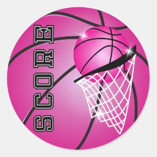Basketball Score in Pink Round Sticker