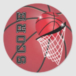 Basketball Score in Red Classic Round Sticker