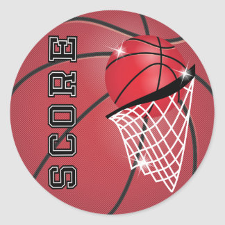 Basketball Score in Red Round Stickers