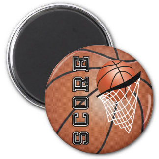Basketball Score with a Net 2 Inch Round Magnet