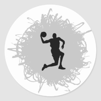 Basketball Scribble Style Classic Round Sticker