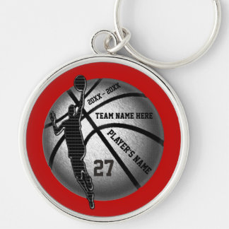 Basketball Senior Gifts Personalized, Team Colors Silver-Colored Round Keychain
