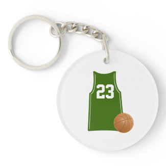 A basketball shirt with basketball on an Acrylic Keychain as a birthday or Christmas gift for sports fans