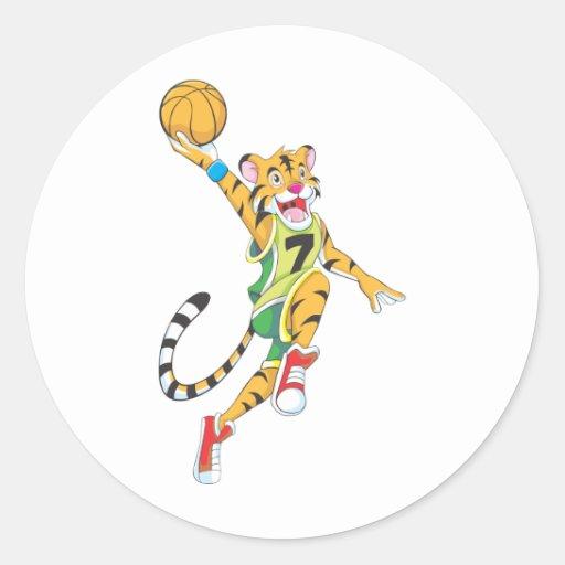 Basketball Shirts - Tiger Slam Dunk Basketball Classic Round Sticker