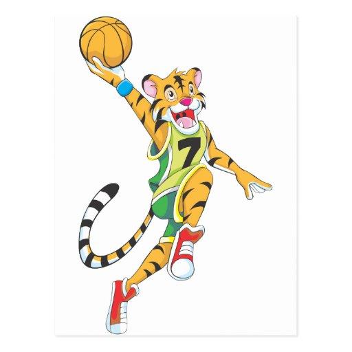 Basketball Shirts - Tiger Slam Dunk Basketball Postcard