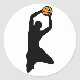 basketball silhouette classic round sticker