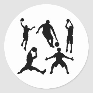 Basketball Silhouettes Classic Round Sticker