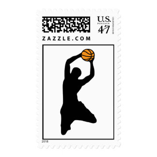 basketball : silhouettes : postage stamp