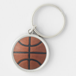 Basketball Silver-Colored Round Keychain