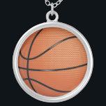 "Basketball Silver Plated Necklace<br><div class=""desc"">Basketball</div>"